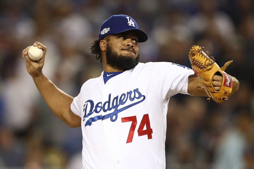 Kenley Jansen pitches for the Dodgers against the Chicago Cubs during Game 3 of the National League Championship Series on Oct. 18.
