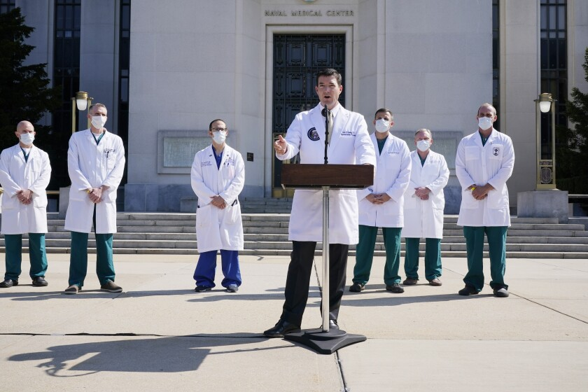 Dr. Sean Conley, physician to President Trump, and other doctors outside Walter Reed National Military Medical Center