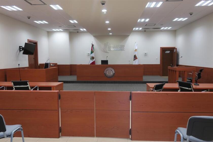 Vista general de la sala donde se llevó a cabo la primera audiencia del juicio en contra de Jorge Fernández, esposo y presunto asesino de la española Pilar Garrido, hoy, jueves 30 de agosto de 2018, en Ciudad Victoria (México). EFE