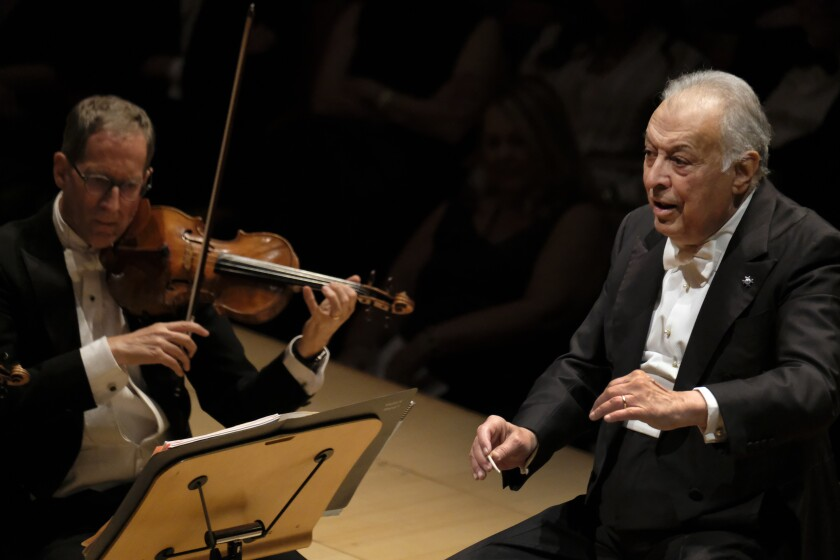 Zubin Mehta conducting at Walt Disney Concert Hall in October. The L.A. Phil's conductor emeritus will follow his New Year's Eve program with Mahler and Wagner programs over the next 10 days.