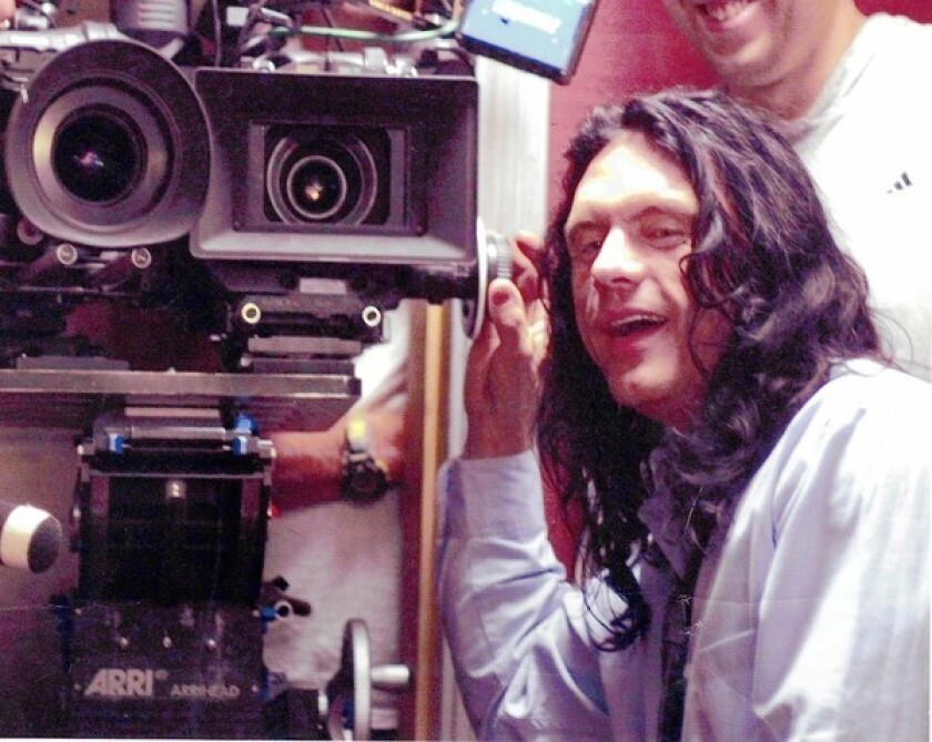 """Tommy Wiseau and his """"big Hollywood thing"""" — the two-camera setup."""