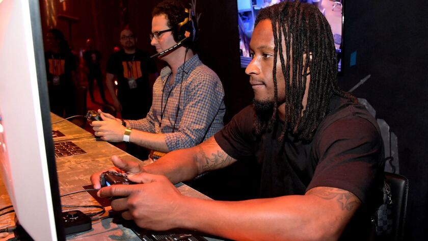 "Rams star Todd Gurley participates in the ""Call of Duty: Black Ops 4"" community reveal event in Hawthorne on May 17, 2018."