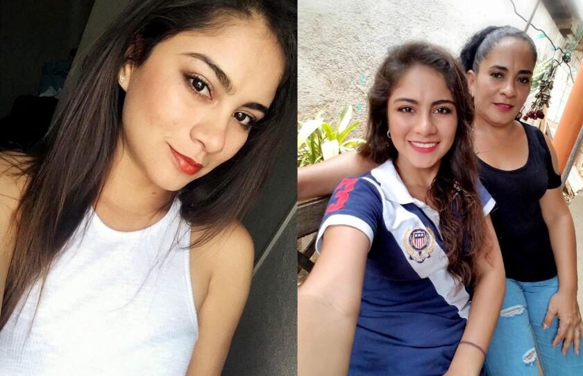 Combinación de fotografías familiar cedidas donde aparece la guatemalteca Yesenia Magali Melendrez Cardonay