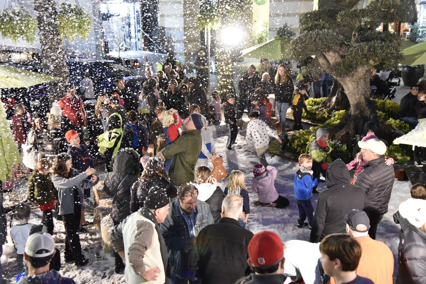 Flower Hill mall hosted the festivities which included a snow machine