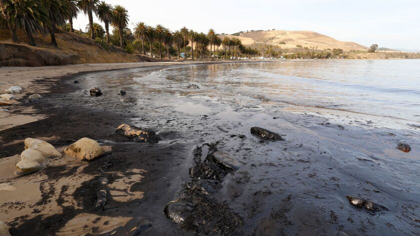 Oil washes ashore at Refugio State Beach on May 19, 2015, after an underground pipeline ruptured.
