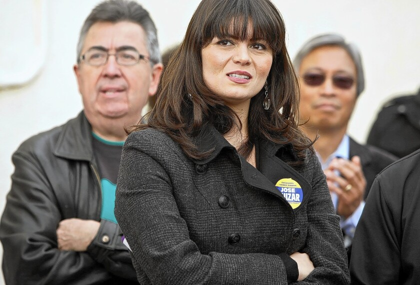 """Francine Godoy, shown at a campaign kickoff for Councilman Jose Huizar in 2010, had accused Huizar, her boss, of retaliating against her after she refused to provide him with """"sexual favors."""" The suit has been settled."""