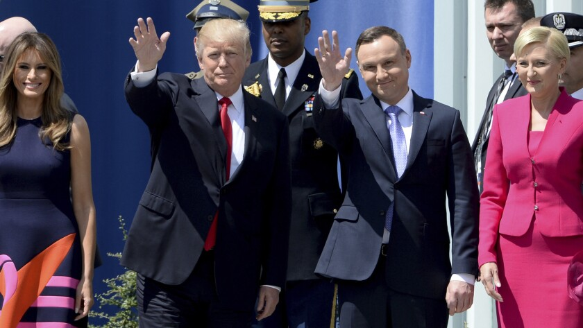 President Trump with Polish President Andrzej Duda in Warsaw in 2017.