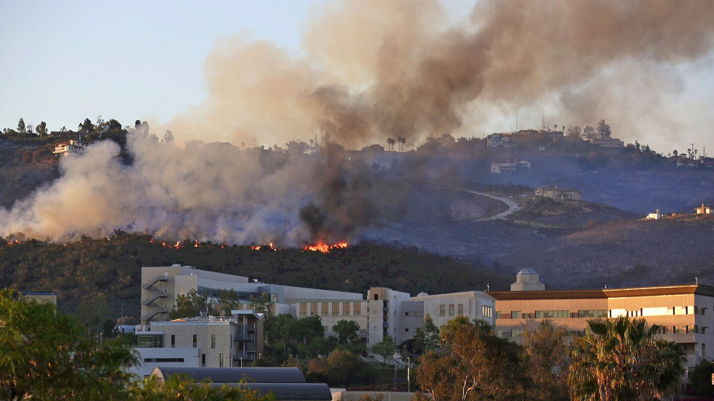 The Cocos fire burns in the hills above Cal State San Marcos on Thursday. The fire had burned 2,520 acres and was considered 70% contained by Saturday.