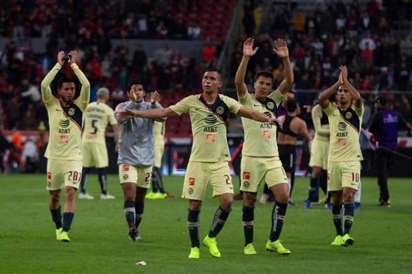 Club America players celebrate their 2-1 victory over Atlas in Matchday 2 action in the Mexican league's Clausura championship on Jan. 11, 2019. The match was played at Atlas' home ground, Jalisco Stadium, in Guadalajara, Mexico. EPA-EFE/Francisco Guasco