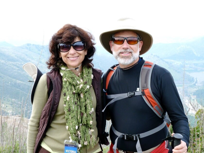 Victoria Monaco and Robert Weisgrau on a hike early in the Exploring Our Sense of Place program.