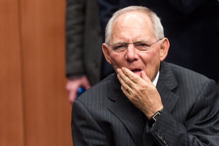 Germany's Finance Minister Wolfgang Schauble arrives for the Eurogroup finance ministers meeting at the EU Council building in Brussels on Thursday, Feb. 11, 2016. (AP Photo/Geert Vanden Wijngaert)
