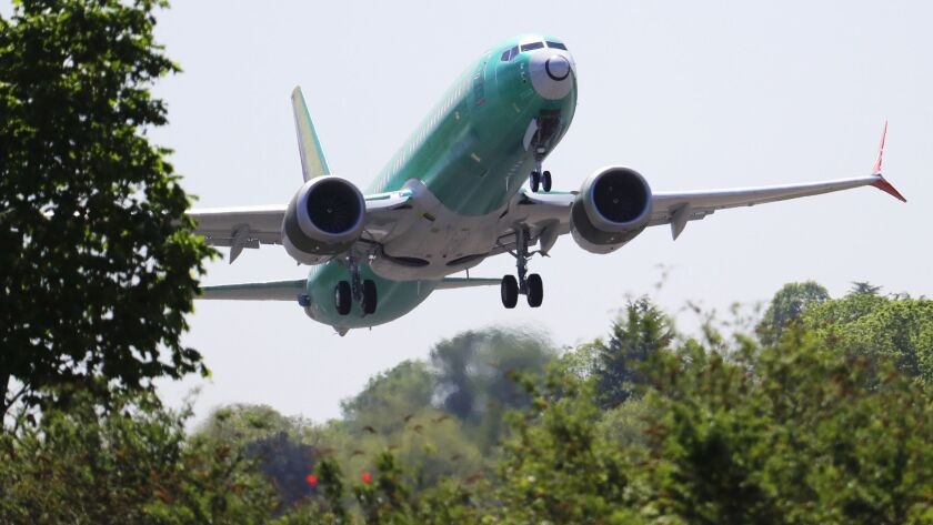 A Boeing 737 Max 8 jet on a test flight in Renton, Wash.. on May 8.