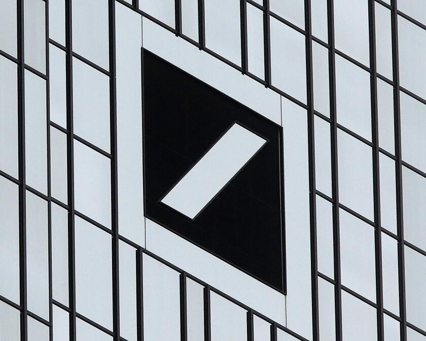 Deutsche Bank's logo is pictured at its headquarters in Frankfurt, Germany.