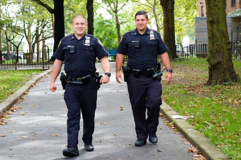 Officers Nicholas Martucci, 31 (right), and Stefan Olynyk, 32, of the 75th Precinct in East New York, Brooklyn.