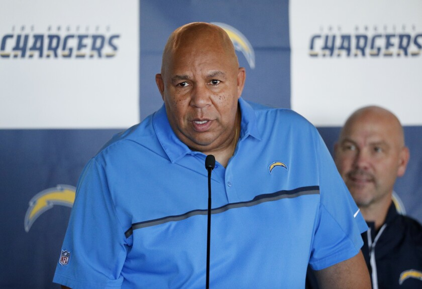 Los Angeles Chargers special team coordinator George Stewart speaks during a news conference.