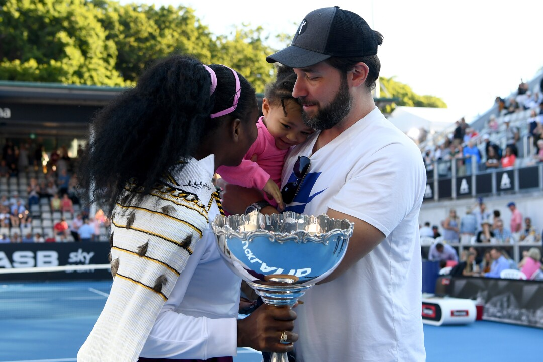Serena Williams is joined by husband Alexis Ohanian and daughter Alexis Olympia after she won the ASB Classic on Jan. 12 in Auckland, New Zealand.
