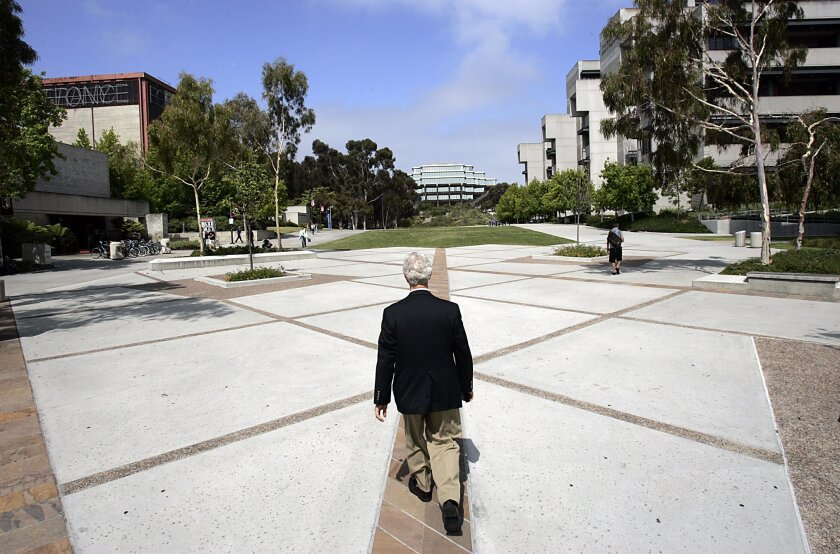 M. Boone Hellmann, UCSD campus architect, visits some of his favorite spaces. The Geisel Library is in the background.