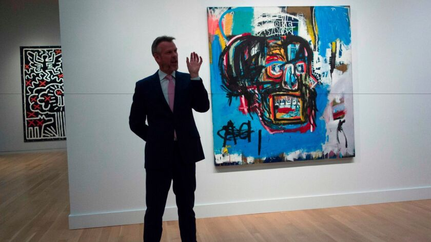 """A Sotheby's official speaks about """"Untitled,"""" a 1982 painting by Jean-Michel Basquiat."""