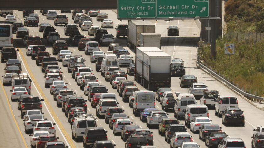 LOS ANGELES, CA – AUGUST 2, 2018: The 405 Freeway traffic in the Sepulveda Pass in Los Angeles mid
