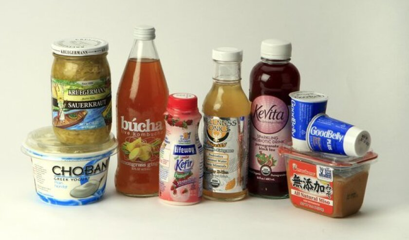 Food containing probiotics include some yogurts and juices, sauerkraut, kefir and miso soup.