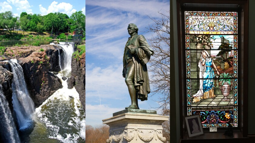 A statue of Alexander Hamilton, center, overlooks the Great Falls, left, in Paterson, N.J. A stained-glass windown in Lambert Castle memorializes a deceased daughter of Catholina Lambert.