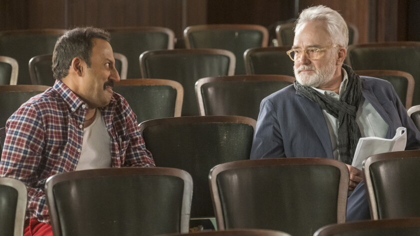 """Rizwan Manji, left and, Bradley Whitford in a holiday episode of the musical comedy """"Perfect Harmony"""" on NBC."""
