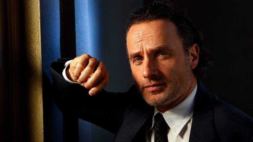 """Actor Andrew Lincoln, who plays survival leader Rick Grimes on AMC's """"The Walking Dead,"""" says: """"I've learned from this guy. He has qualities that I would hope to emulate."""" (Mel Melcon / Los Angeles Times)"""