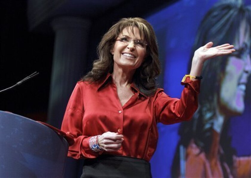 """FILE - In this Feb. 11, 2012, file photo, former Alaska Gov. and GOP vice presidential candidate Sarah Palin delivers the keynote address to activists from America's political right at the Conservative Political Action Conference (CPAC) in Washington. NBC's """"Today"""" show is bringing Sarah Palin on board as a co-host — for one morning, this Tuesday, April 3. The announcement was posted Sunday, April 1, on NBC's website. (AP Photo/J. Scott Applewhite, File)"""