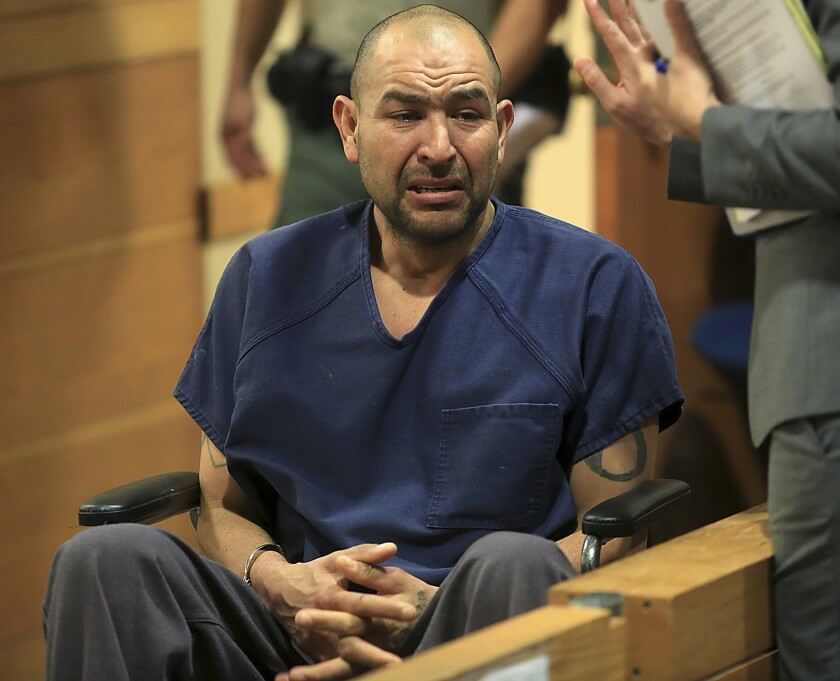 """FILE - In this Nov. 22, 2016, file photo, Gerardo Mendoza appears in Sonoma County Superior Court in Santa Rosa, Calif. The Northern California man pled no contest Wednesday, Sept. 22, 2021, to voluntary manslaughter charges in the drowning of his 4-year-old daughter in the baptismal pool of a Catholic church, authorities said. Mendoza, 47, had been smoking crystal methamphetamine for three days and began believing his two youngest children were """"being attacked by evil"""" when he took them to Healdsburg's St. John the Baptist Catholic Church on Nov. 20, 2016, authorities said. (Kent Porter/The Press Democrat via AP, File)"""