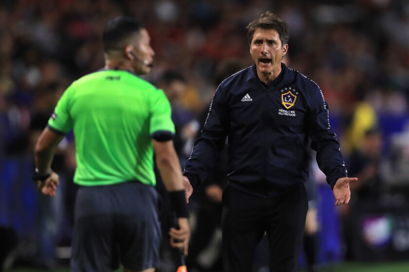 CARSON, CALIFORNIA - JULY 23: Manager Guillermo Barros Schelotto of the Los Angeles Galaxy disputes call during the second half of the quarterfinal match of the 2019 Leagues Cup against Tijuana at Dignity Health Sports Park on July 23, 2019 in Carson, California. (Photo by Sean M. Haffey/Getty Images) ** OUTS - ELSENT, FPG, CM - OUTS * NM, PH, VA if sourced by CT, LA or MoD **