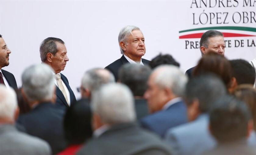 El presidente de México, Andrés Manuel López Obrador, asiste este lunes a la celebración de sus 100 días de gobierno, en el Palacio Nacional en Ciudad de México (México). EFE