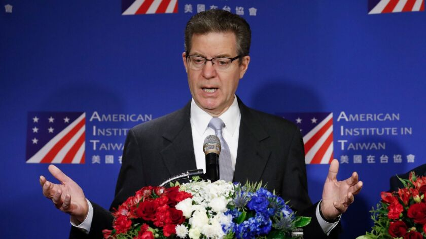 Sam Brownback, US ambassador-at-large for religious freedom visit in Taipei, Taiwan - 11 Mar 2019