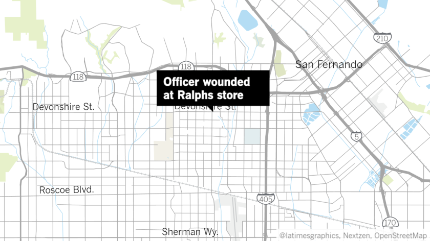 Map with label pointing to Ralphs store on Devonshire Street in Granada Hills where an LAPD officer was wounded