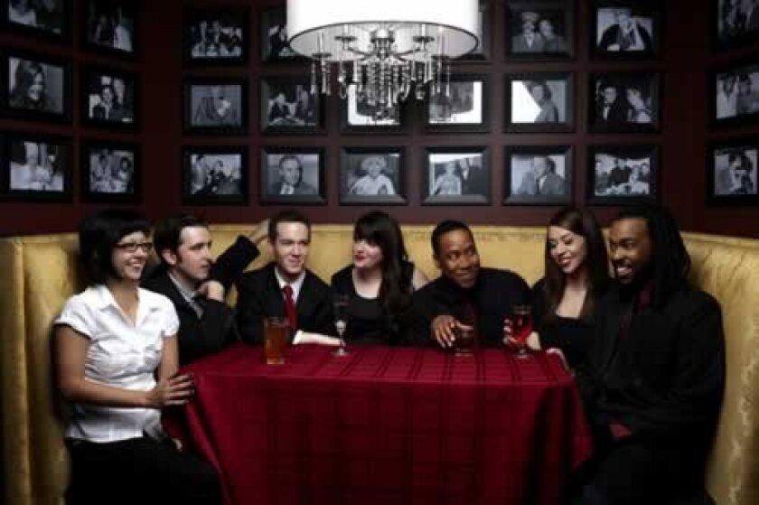 The Second City's touring cast includes Dawn Wilson, Kevin Sciretta, John Hartman, Cate Freedman, Warren Phynix Johnson, Chelsea Devantez and Tilliski Ramey. Photo Dave Rentauskas.