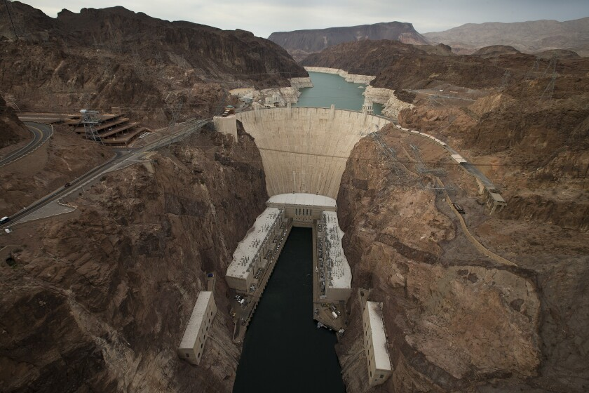 """Lake Mead has a visible """"bathtub ring"""" showing the lower water level caused by drought."""