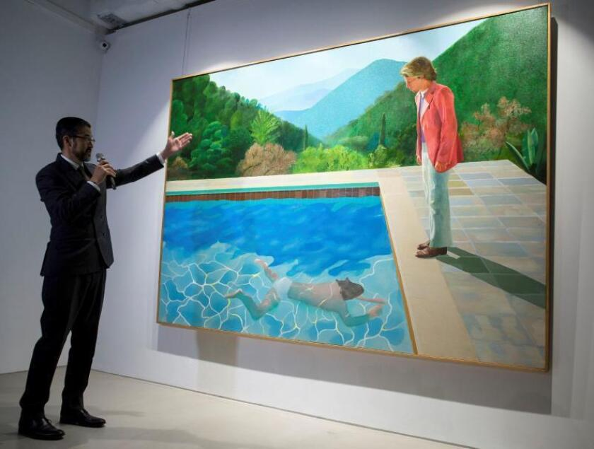 English artist David Hockney's 'Portrait of an Artist (Pool with Two Figures)' is displayed during a Christie's auction preview in Hong Kong, China, 27 September 2018. Hockney's Portrait of an Artist (Pool with Two Figures) will be auctioned during the Post-War and Contemporary Art Evening Sale on 15 November 2018 at Christie's in New York, USA. EPA-EFE/FILE/JEROME FAVRE