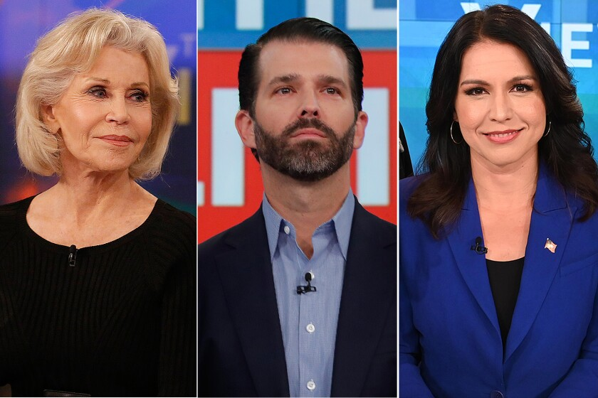 "Jane Fonda, left, Donald Trump Jr. and Tulsi Gabbard on ABC's daytime talk show ""The View."""