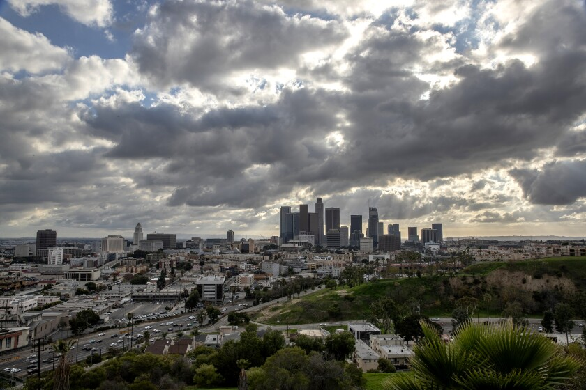 Cold front moves over downtown Los Angeles