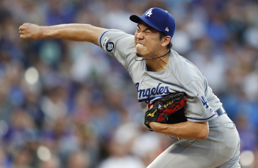Dodgers starter Kenta Maeda delivers against the Colorado Rockies during Monday's 9-1 loss.