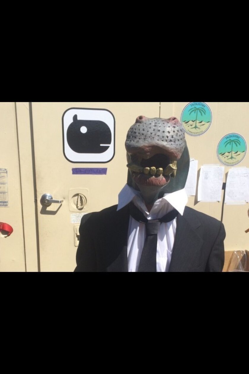 After dressing up Sunday as a business-attired hippo, Kendall Boshart became part of a performance art piece, called Corporate Headquarters, at the 2015 Coachella Valley Music & Arts Festival. Her report appears below.