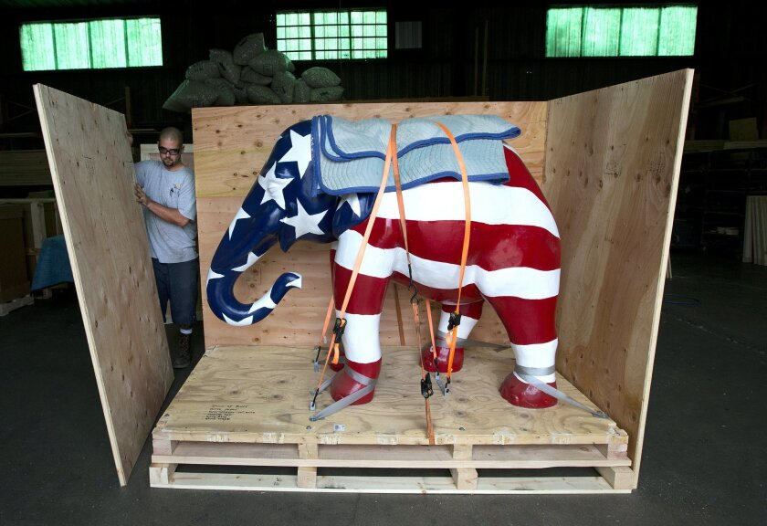 James Butteris, with Craters & Freighters, crates up a GOP elephant which appeared at the 1996 GOP convention in San Diego and is now headed to this year's GOP convention in Tampa.