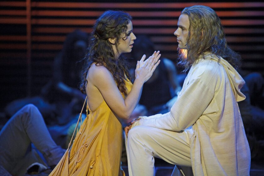 "Chilina Kennedy as Mary Magdalene and Paul Nolan as Jesus in the La Jolla Playhouse presentation of the Stratford Shakespeare Festival's ""Jesus Christ Superstar."""