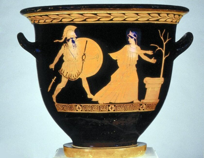"""This glazed ceramic vessel, """"Helen and Menelaus at the Sack of Troy / Youth Departing,"""" dates from 445 to 430 B.C."""