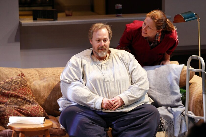 """Andrew Oswald and Judy Bauerlein rehearse a scene from Cygnet Theatre's """"The Whale."""""""