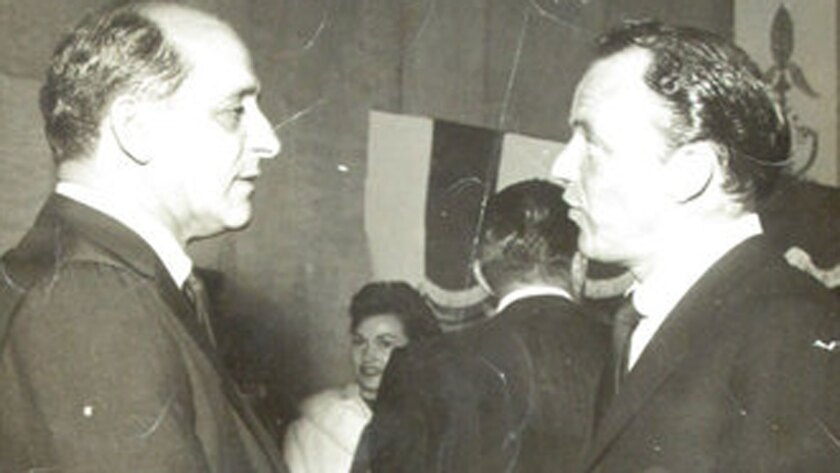 An undated photograph of mobster Sam Giancana and Frank Sinatra is among the mementos Giancana's daughter is selling.