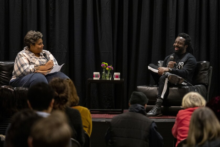 LOS ANGELES, CA --FEBRUARY 20, 2019 --Writer and editor Roxanne Gay, left, interviews author Marlon