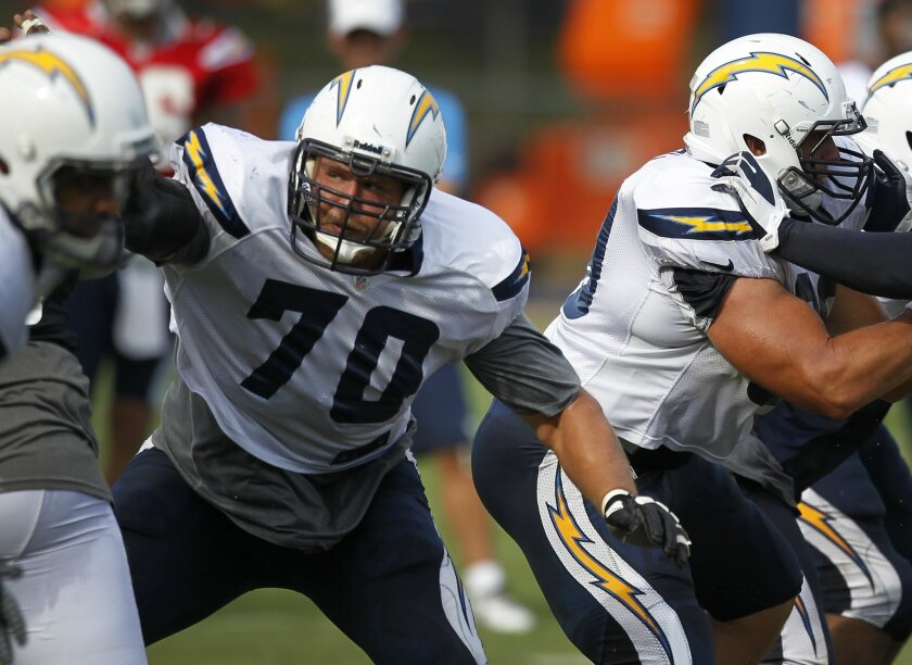Guard-tackle Stephen Schilling was with the Chargers during training camp.