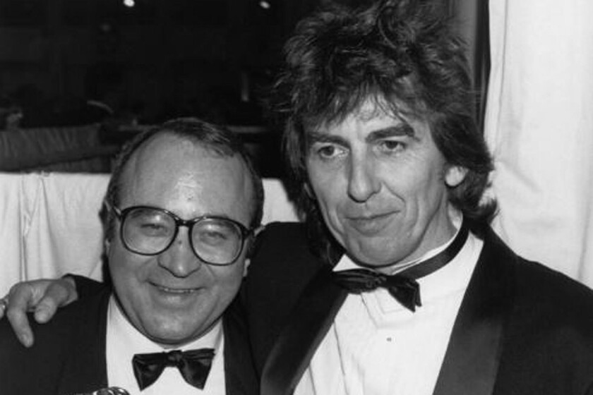 """Actor Bob Hoskins, left, was joined in 1987 by ex-Beatle George Harrison, cofounder of HandMade Films, when the British movie academy named Hoskins best actor for his role in HandMade's drama """"Mona Lisa."""""""