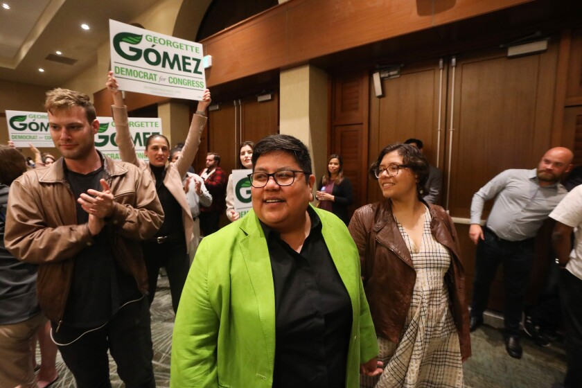 San Diego City Council President Georgette Gómez at the Westin Hotel on election night in March.