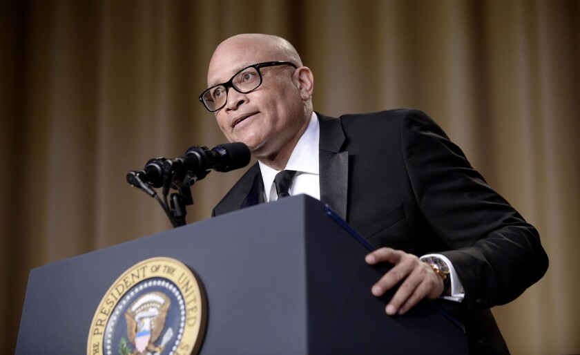 Comedian Larry Wilmore speaks during the White House Correspondents' Assn. annual dinner at the Washington Hilton hotel.